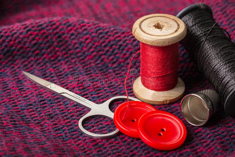 Artigos para costurar fotografia de stock