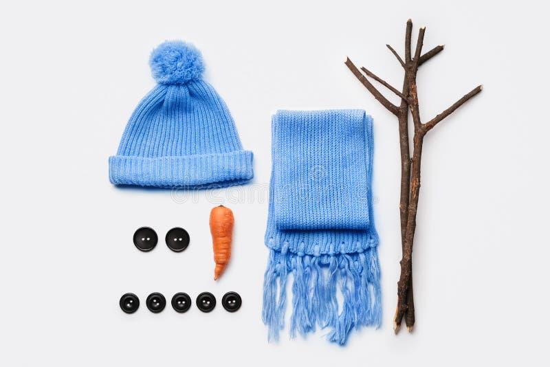 Artigos para fazer um boneco de neve fotografia de stock