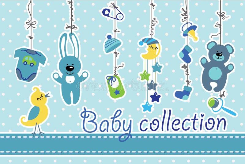 Artigos recém-nascidos do bebê que penduram na corda Coleção do bebê ilustração royalty free