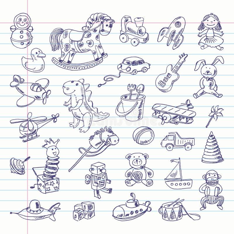 Artigos retros dos brinquedos do desenho a mão livre ilustração do vetor