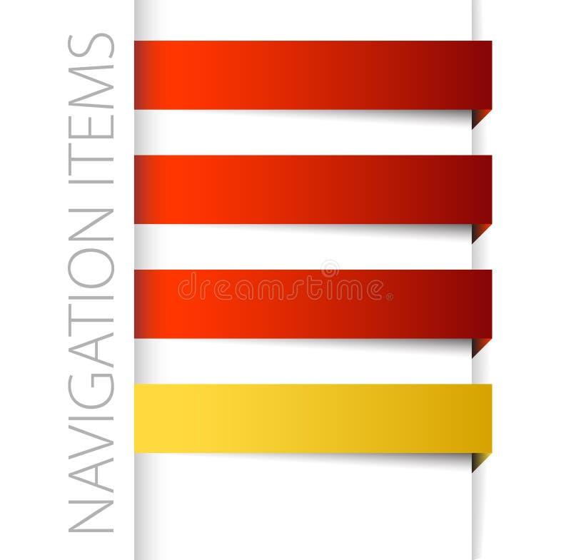 Artigos vermelhos modernos da navegação na barra direita imagem de stock