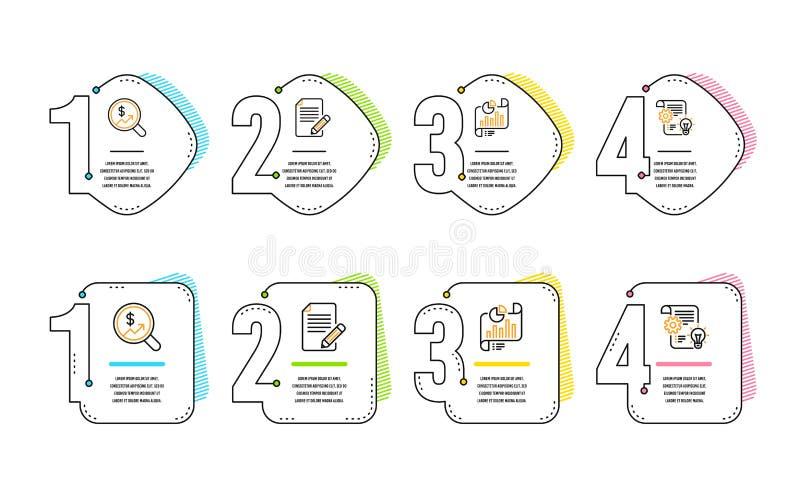 Artikel-, Berichtsdokument und W?hrungsrechnungspr?fungsikonensatz Zahnrad-Zeichen Feedback, Wachstumstabelle, Gelddiagramm Vekto stock abbildung