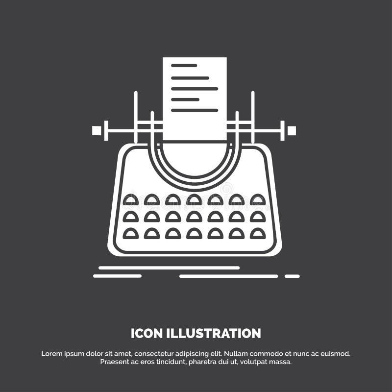 Artikel, Blog, Geschichte, Schreibmaschine, Verfasser Icon Glyphvektorsymbol f?r UI und UX, Website oder bewegliche Anwendung vektor abbildung