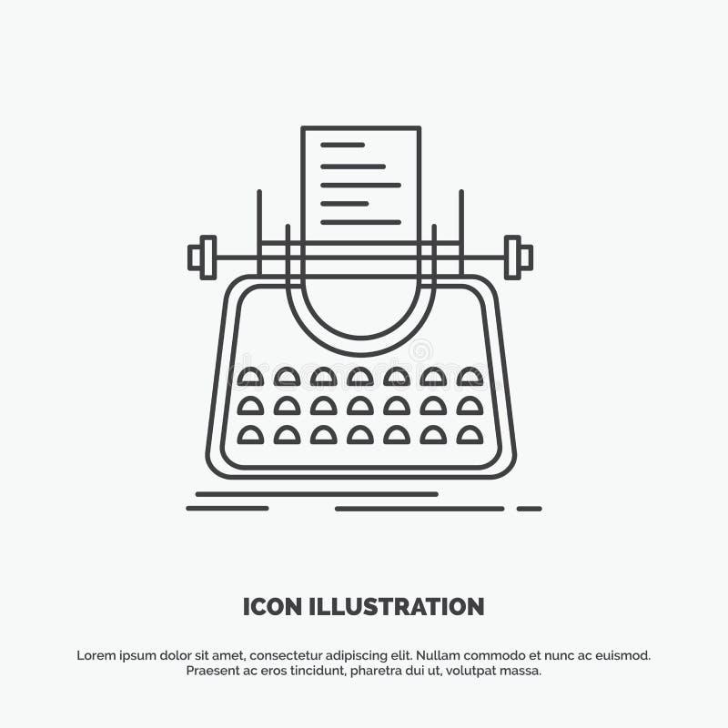 Artikel, blog, verhaal, schrijfmachine, schrijver Icon Lijn vector grijs symbool voor UI en UX, website of mobiele toepassing stock illustratie