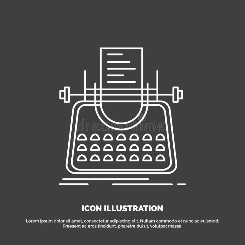 Artikel, blog, verhaal, schrijfmachine, schrijver Icon Lijn vectorsymbool voor UI en UX, website of mobiele toepassing stock illustratie