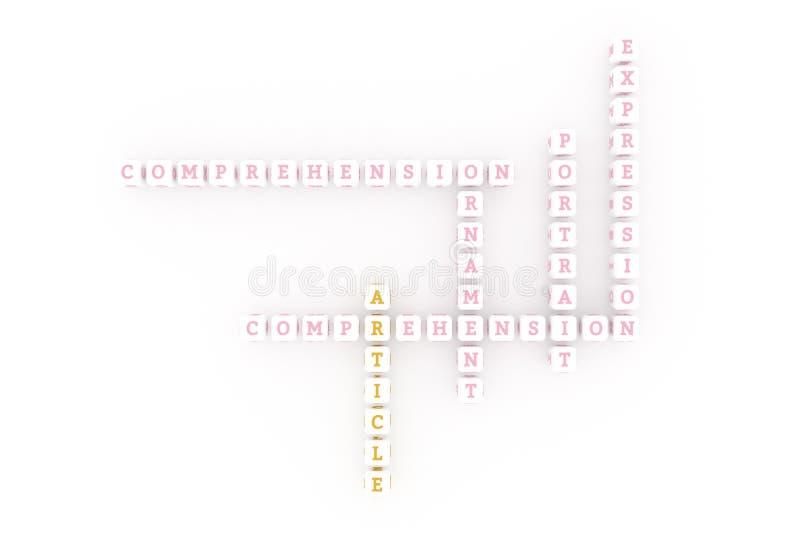 Artikel, creatief sleutelwoordkruiswoordraadsel Voor webpagina, grafisch ontwerp, textuur of achtergrond het 3d teruggeven royalty-vrije illustratie