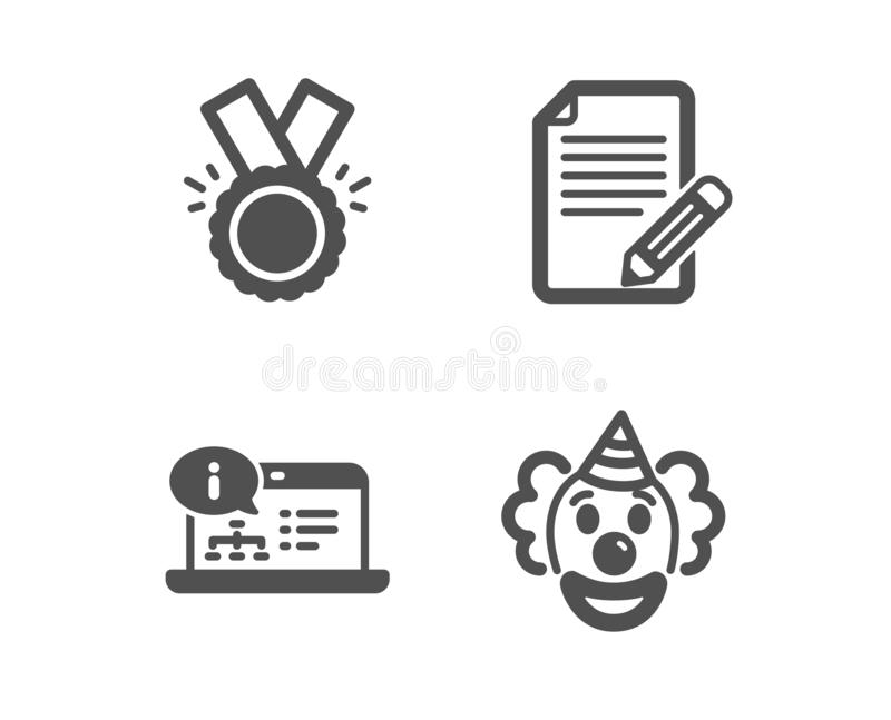 Artikel, Ehre und on-line-Dokumentationsikonen Clown Sign Feedback, Medaille, Netztechnik Lustige Leistung Vektor vektor abbildung