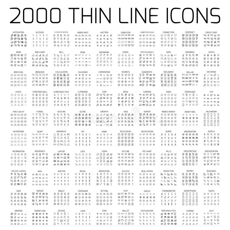 Artikel med ensamrätt 2000 fodrar thin symbolsuppsättningen stock illustrationer