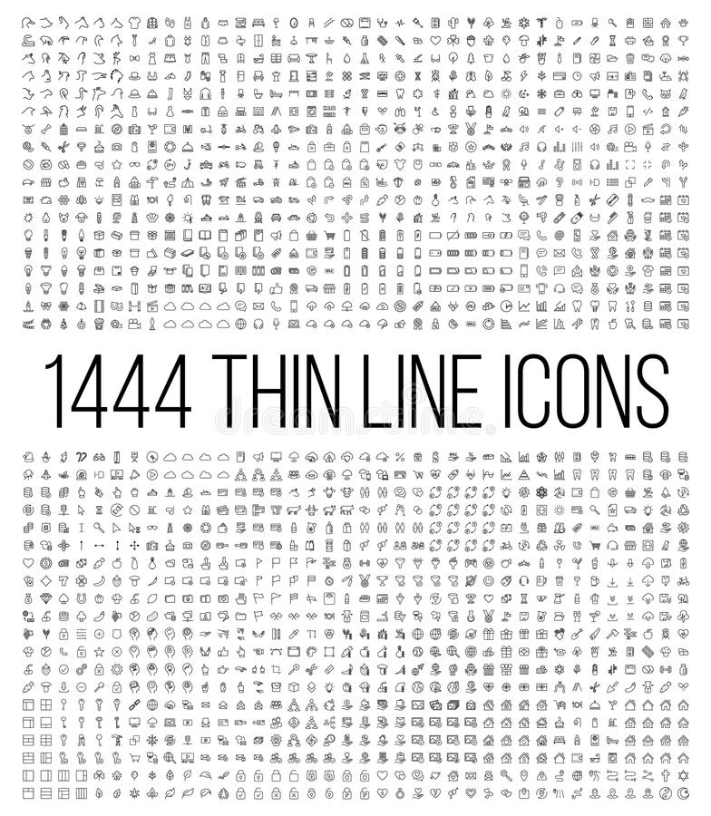 Artikel med ensamrätt 1444 fodrar thin symbolsuppsättningen vektor illustrationer