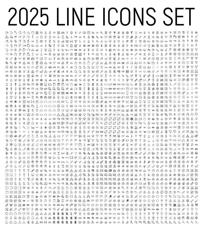 Artikel med ensamrätt 2025 fodrar thin symbolsuppsättningen royaltyfri illustrationer