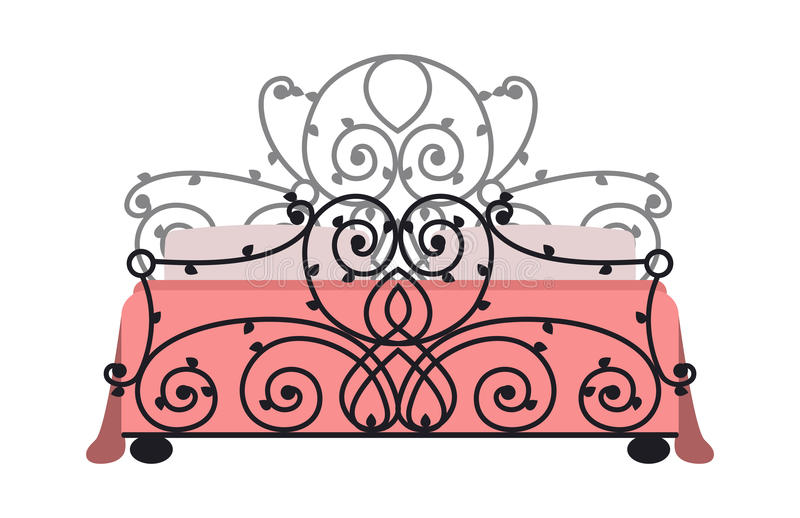 Artikel med ensamrätt som sover dekoren för lägenhet för säng för mode för möblemangdesignsovrum och för inre rum den bekväma hem stock illustrationer