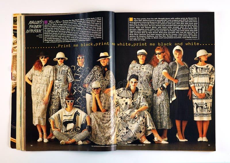 Artikel van de het tijdschriftmanier van uitstekende Australische Vrouwen het Wekelijkse gedateerd Augustus 1986 royalty-vrije stock foto's