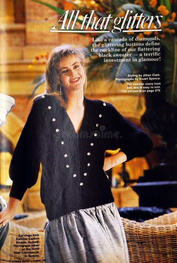 Artikel van de het tijdschriftmanier van uitstekende Australische Vrouwen het Wekelijkse gedateerd Augustus 1986 stock afbeeldingen