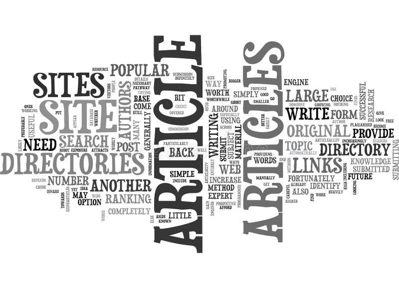Artikel-Verzeichnisse sind eine populäre Form der Web-Verzeichnis-Wort-Wolke stock abbildung