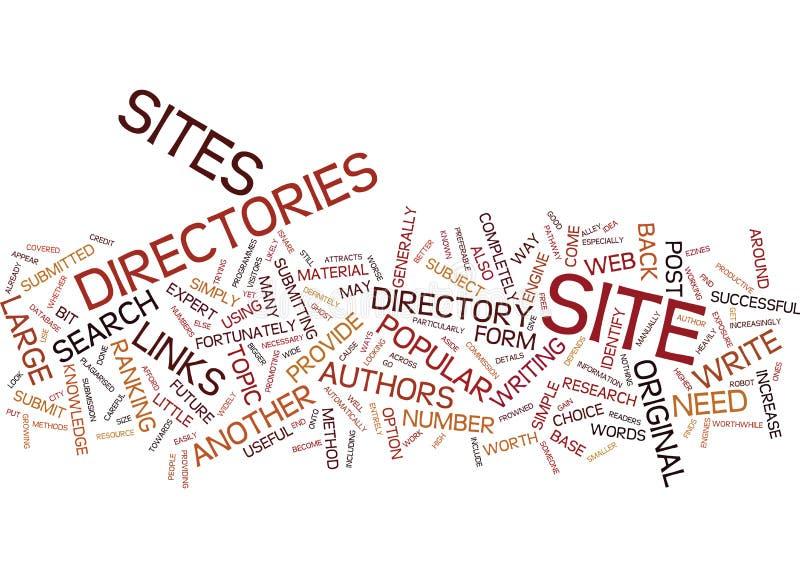 Artikel-Verzeichnisse sind eine populäre Form des Web-Verzeichnis-Wort-Wolken-Konzeptes stock abbildung