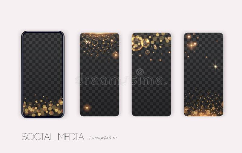 Artikelpaket Trenditändringsbar mall för artiklar i sociala nätverk Effekter av sparkle och glitter royaltyfri illustrationer