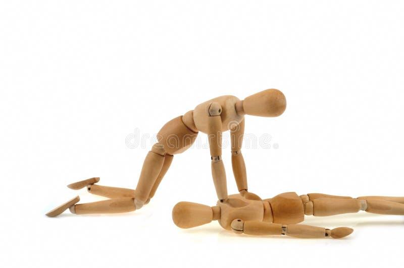 Artikulerad trädvärg som gör en hjärt- massage arkivfoto
