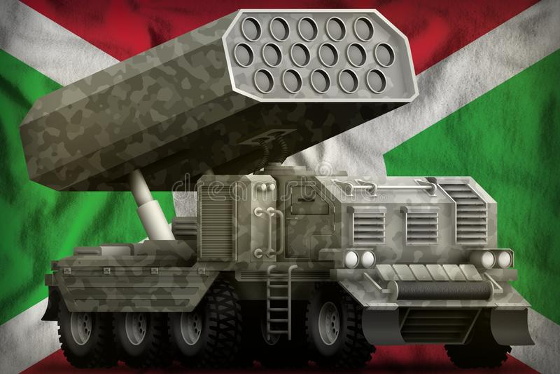 Artillería de Rocket, lanzador de misil con camuflaje gris en el fondo de la bandera nacional de Burundi ilustración 3D ilustración del vector