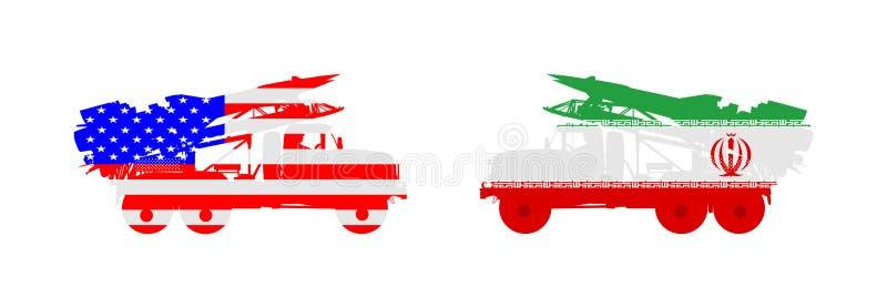 Artillerie-Abschussrampen-LKW-Vektorillustration USA-Flug-Rocket-Fördermaschine mit Atombombe gegen der Iran-Abschussrampe Kriegs stock abbildung
