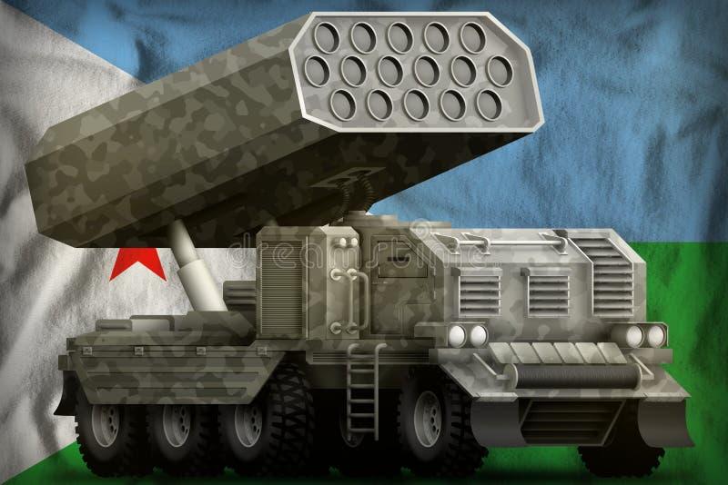 Artillerie de Rocket, lance-missiles avec le camouflage gris sur le fond de drapeau national de Djibouti illustration 3D illustration stock