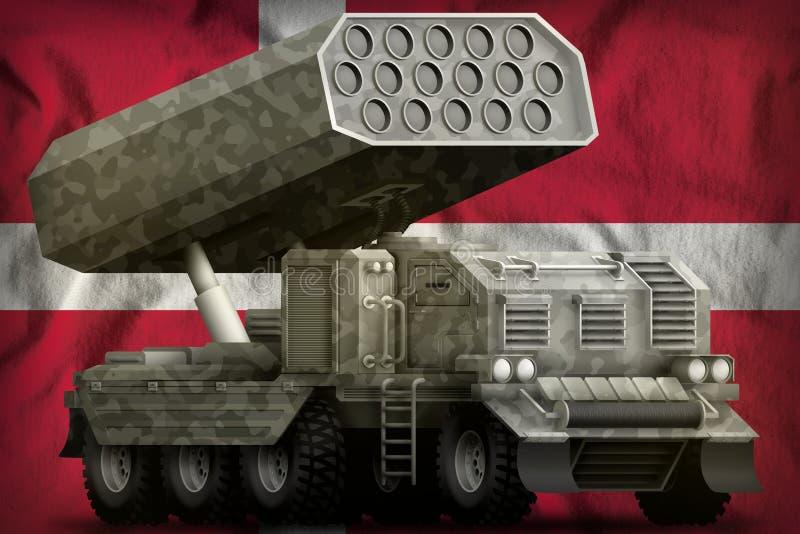 Artillerie de Rocket, lance-missiles avec le camouflage gris sur le fond de drapeau national du Danemark illustration 3D illustration libre de droits
