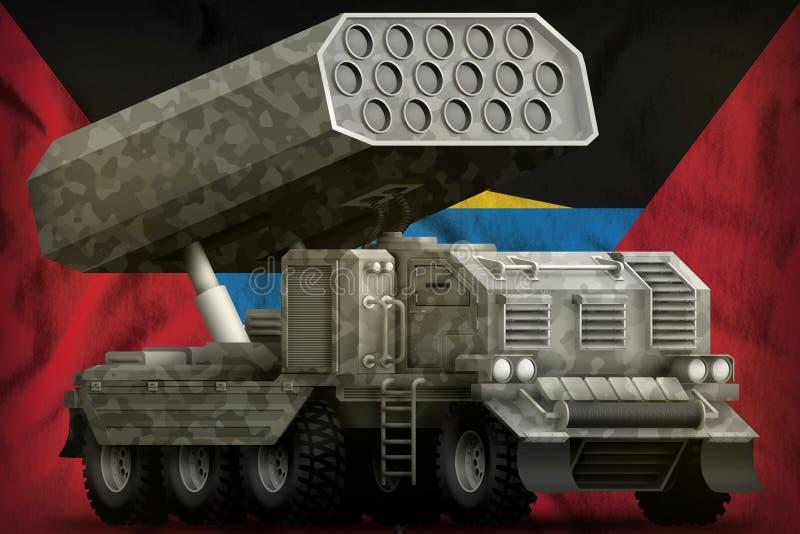 Artillerie de Rocket, lance-missiles avec le camouflage gris sur le fond de drapeau national de l'Antigua-et-Barbuda illustration illustration de vecteur