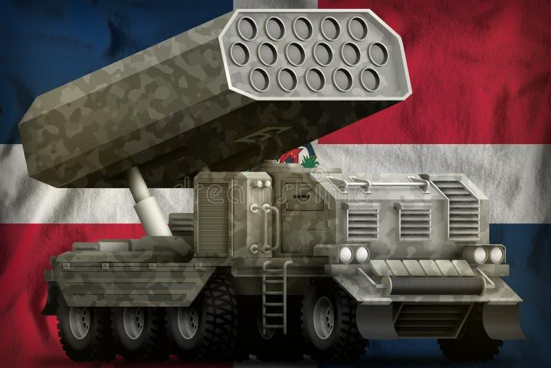 Artillerie de Rocket, lance-missiles avec le camouflage gris sur le fond de drapeau national de la R?publique Dominicaine  illust illustration de vecteur