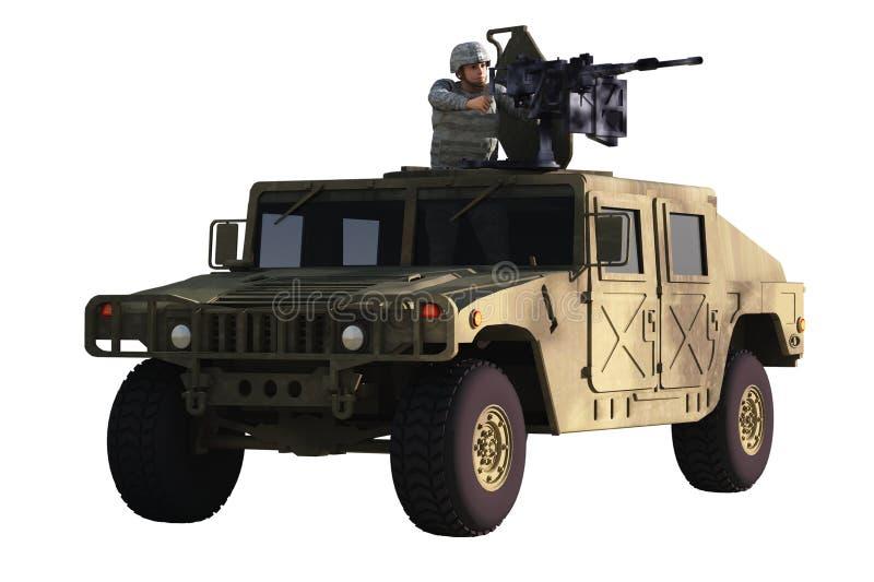 Artillerist på Humvee stock illustrationer