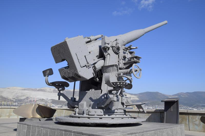 Artillery battle cannon, raised from the bottom of the Black Sea. Weapons of defense in the Second World War. The. Restored exhibit royalty free stock photography