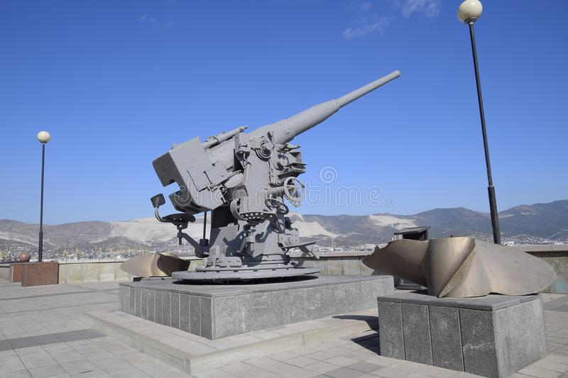 Artillery battle cannon, raised from the bottom of the Black Sea. Weapons of defense in the Second World War. The. Restored exhibit stock photography