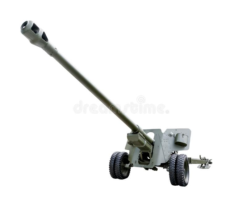 Artillery gun. Gun of the second world war. Green rubber inflatable wheels. Long rifled barrel. Isolated on white background royalty free stock photos