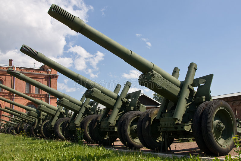 Artillery guns. Artillery museum, St.Petersburg, Russia royalty free stock photography