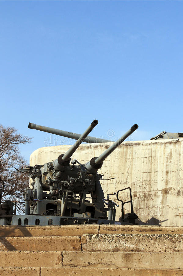 Artillery guns of the fortress of Vladivostok. Fortification fortress guns memorial Vladivostok, the only one in the world to fulfill its tasks as a fortress stock photos
