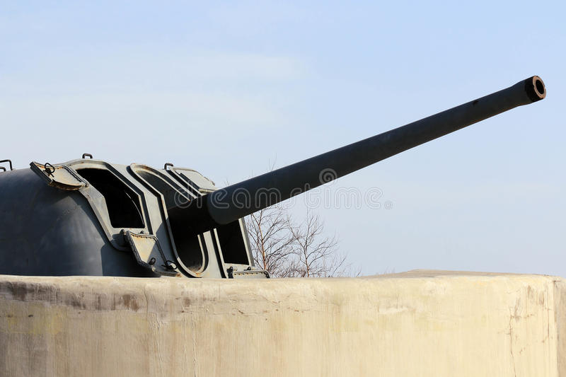 Artillery guns of the fortress of Vladivostok. Fortification fortress guns memorial Vladivostok, the only one in the world to fulfill its tasks as a fortress stock images