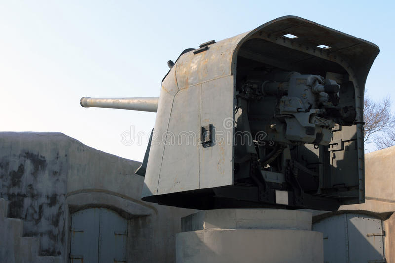 Artillery guns of the fortress of Vladivostok. Fortification fortress guns memorial Vladivostok, the only one in the world to fulfill its tasks as a fortress royalty free stock photography