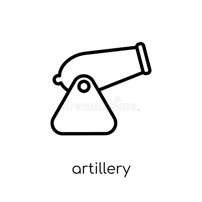 Artillery icon from Army collection. Artillery icon. Trendy modern flat linear vector artillery icon on white background from thin line Army collection, outline vector illustration