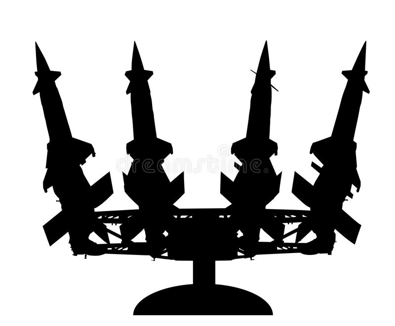 Artillery rocket launcher vector silhouette illustration. Rocket carrier platform with nuclear bomb. Nuclear test, war treat. Bom royalty free illustration