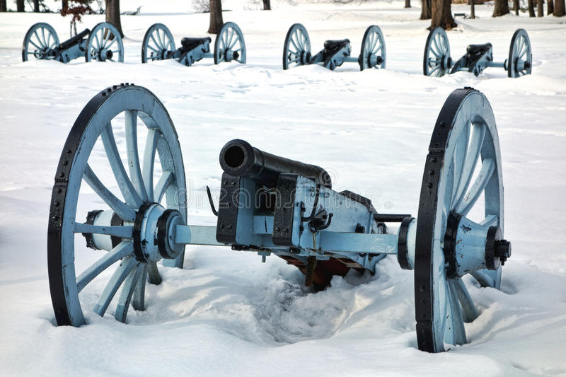 Artillery War Canon at Valley Forge National Park. American Revolutionary War cannon and defense battery in a defensive artillery formation in winter snow at royalty free stock photo