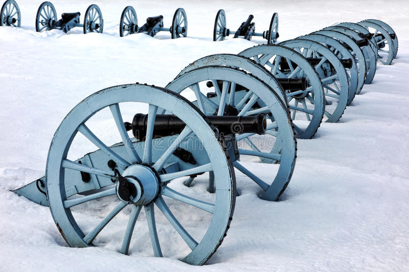 Artillery War Canons at Valley Forge National Park. American Revolutionary War cannons defense battery in a defensive artillery formation in winter snow at royalty free stock images