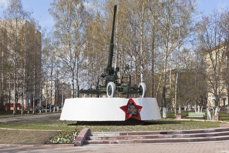 Artilleurs de monument - gardes de Vologda de ciel dans la grande guerre patriotique photos stock