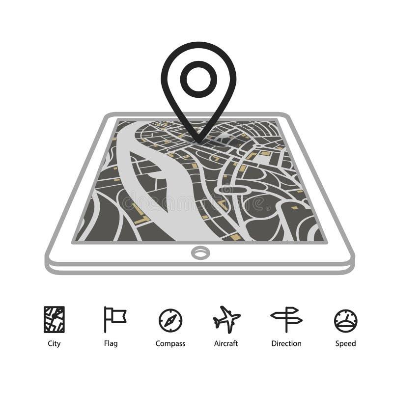 Artilugio moderno con el mapa abstracto de la ciudad ilustración del vector