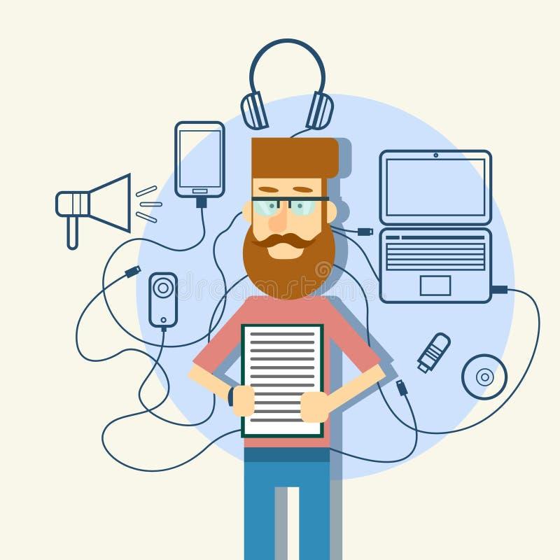 Artilugios casuales del bosquejo del documento de papel del control del hombre, ordenador portátil, megáfono elegante del teléfon libre illustration