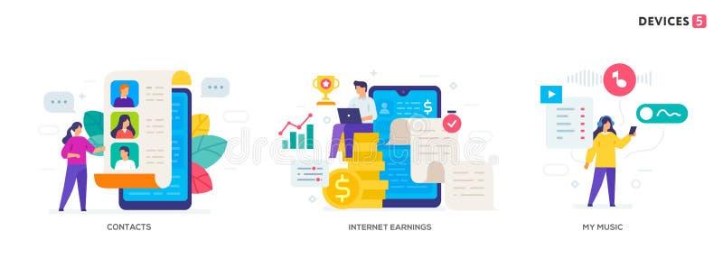 Artilugios del uso de la gente fije de los iconos, ejemplo Medios sociales de la interfaz de usuario de las tabletas de los smart libre illustration