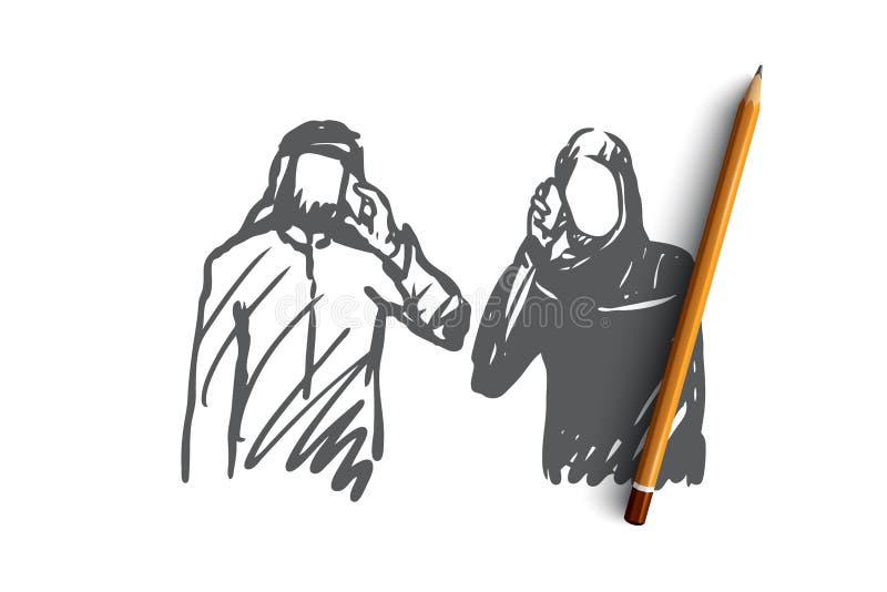 Artilugios, hombre de negocios, musulmán, Islam, concepto árabe Vector aislado dibujado mano libre illustration