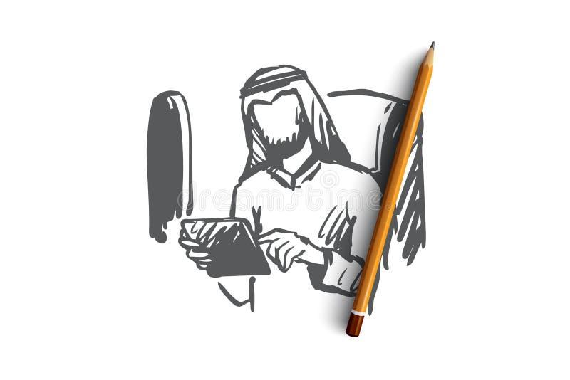 Artilugios, viaje de negocios, hombre de negocios, musulmán, concepto del aeroplano Vector aislado dibujado mano ilustración del vector