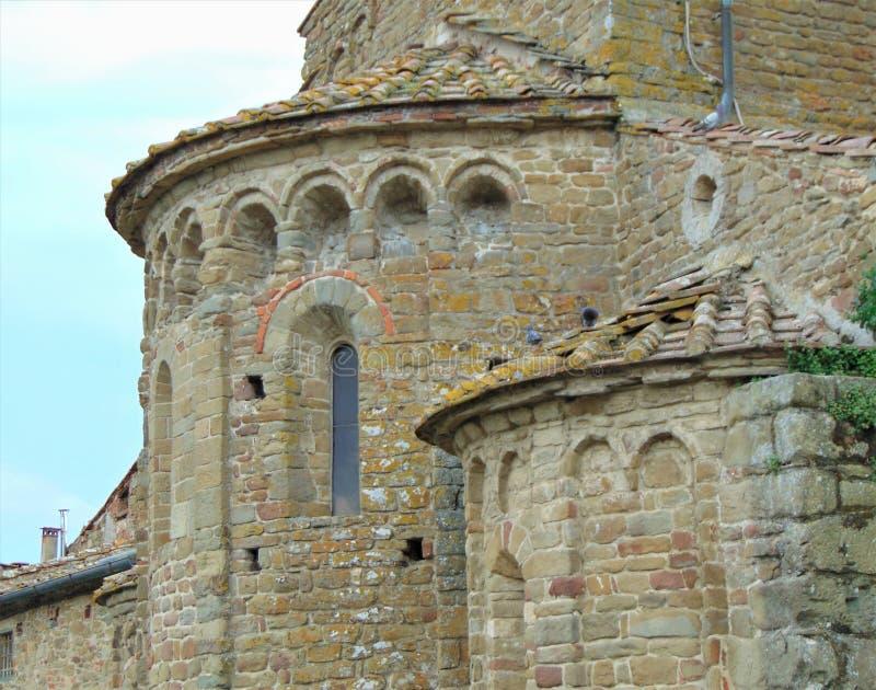 Artimino, Toscani?, Itali? Parochiekerk van Santa Maria en San-Leonardo in Artimino, Pieve Di San Leonardo, architectuurdetails royalty-vrije stock fotografie