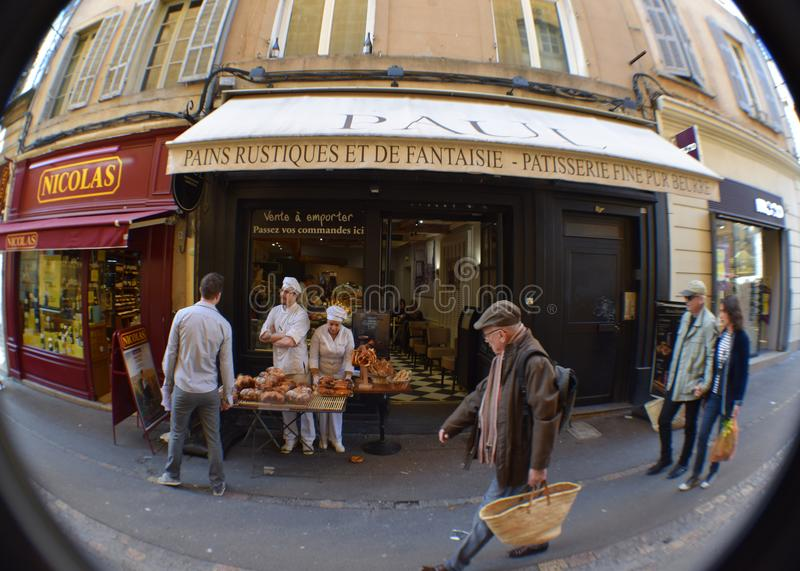 Boulangerie Patisserie Paul, rue Marchal Foch, Aix-en-Provence, Bouches-du-Rhone, France. Artisan Bread Bakery Pastry Paul Loaves Sidewalk Display Shopping royalty free stock images