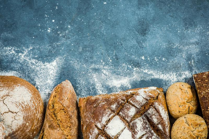 Artisan bread and bakery products. Border background stock photography