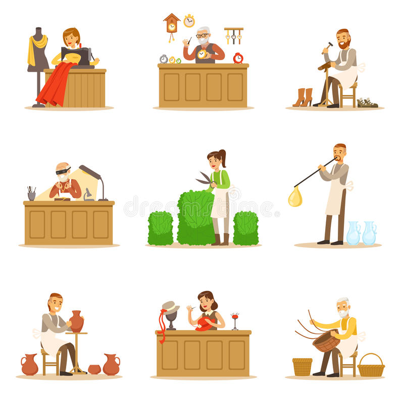 Artisan Craftsmanship Masters, Adult People And Craft Hobbies And Professions Set Of Vector Illustrations. Smiling Cartoon Characters Crafting And Doing royalty free illustration