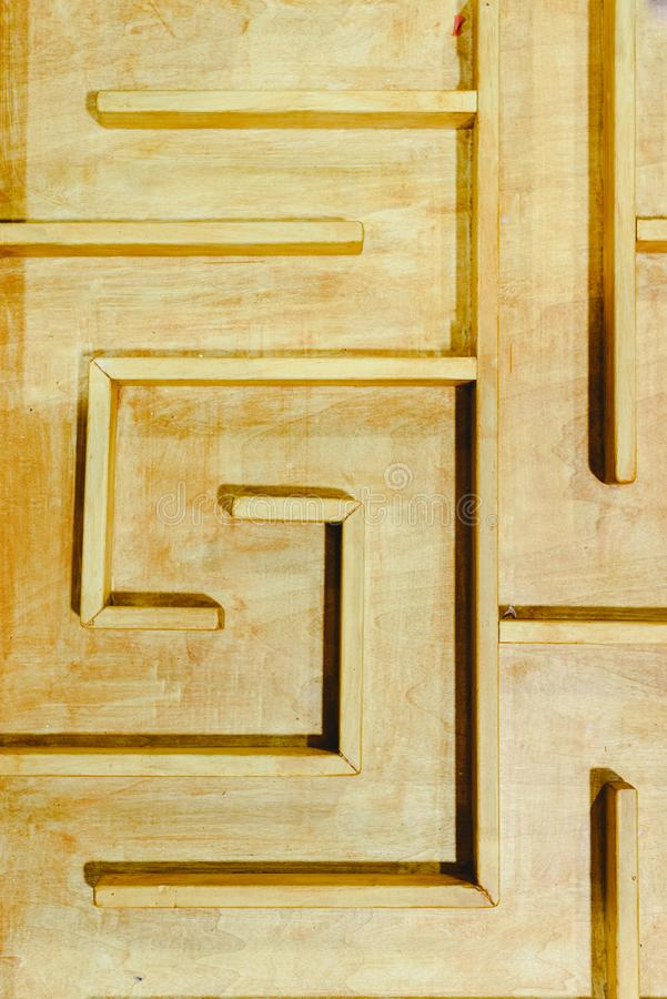 Artisan wooden labyrinth, photo from above.  stock images